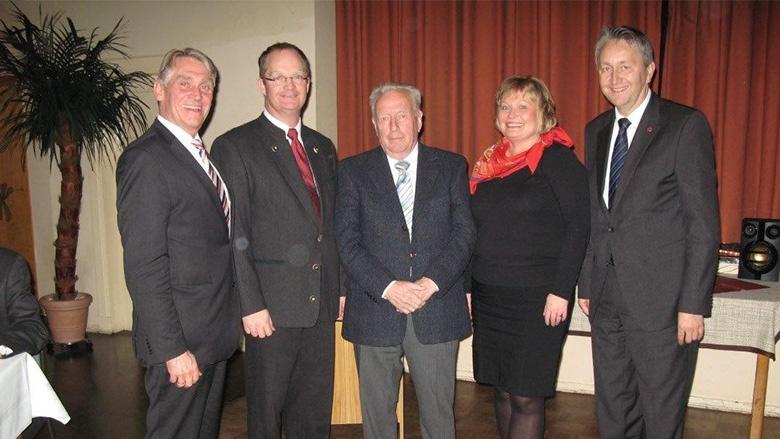 Hans Hinrich Neve mit Hans-Georg Volquardts, Hans-Heinrich Kohnke, Beate Nielsen und Hauke Göttsch