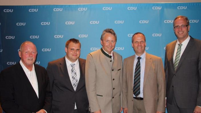 Rainer Wiegard, MdL, Dennis Möck, Hauke Göttsch, MdL, Werner Schwarz und Tobias Koch, MdL