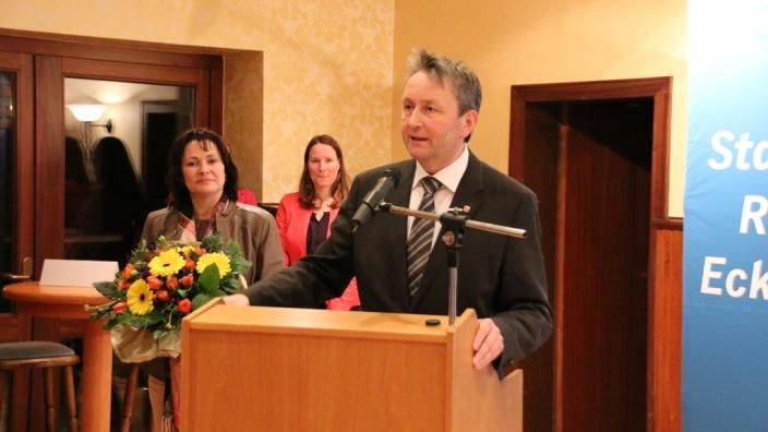 Hauke Göttsch bei seiner Dankesrede vor den CDU-Mitgliedern.
