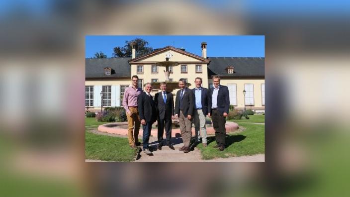 Hans Hinrich Neve und Hauke Göttsch mit Johann Wadephul, MdB und den Wahlkreismitarbeitern Max Schmachtenberg, Vitalij Baisel und Manfred Christiansen